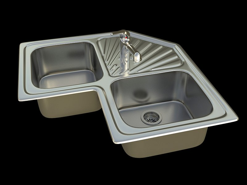 Kitchen sink Angular 2B 3D Model in Cookware Tools 3DExport