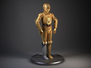 C3PO Star Wars Droid Robot Rigged for MAYA