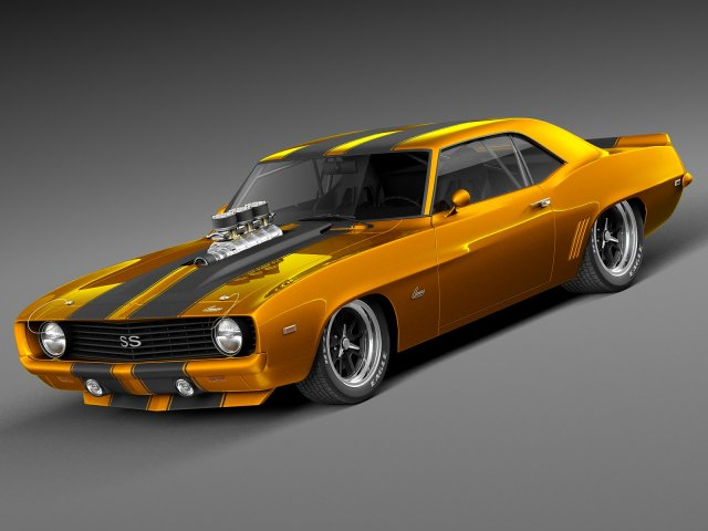 Camaro Ss 1969 >> Chevrolet Camaro Ss 1969 Street Rod 3d Model In Klasik Arabalar 3dexport