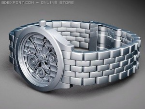 Mens skeleton mechanical watch