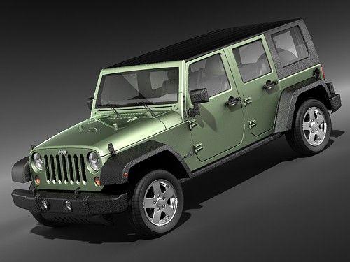 Jeep Wrangler 4door midpoly 3D Model