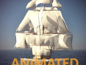 Ship Animated Sail and foam with splashes