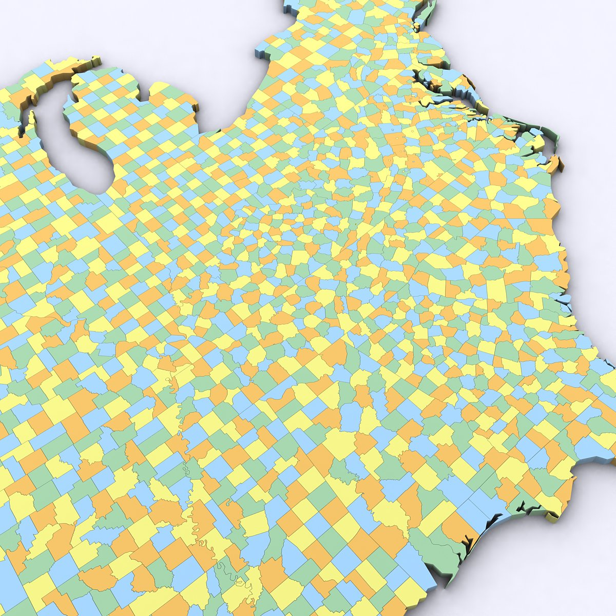 US Political Map With Counties D Model In Environment DExport - Map of us political counties