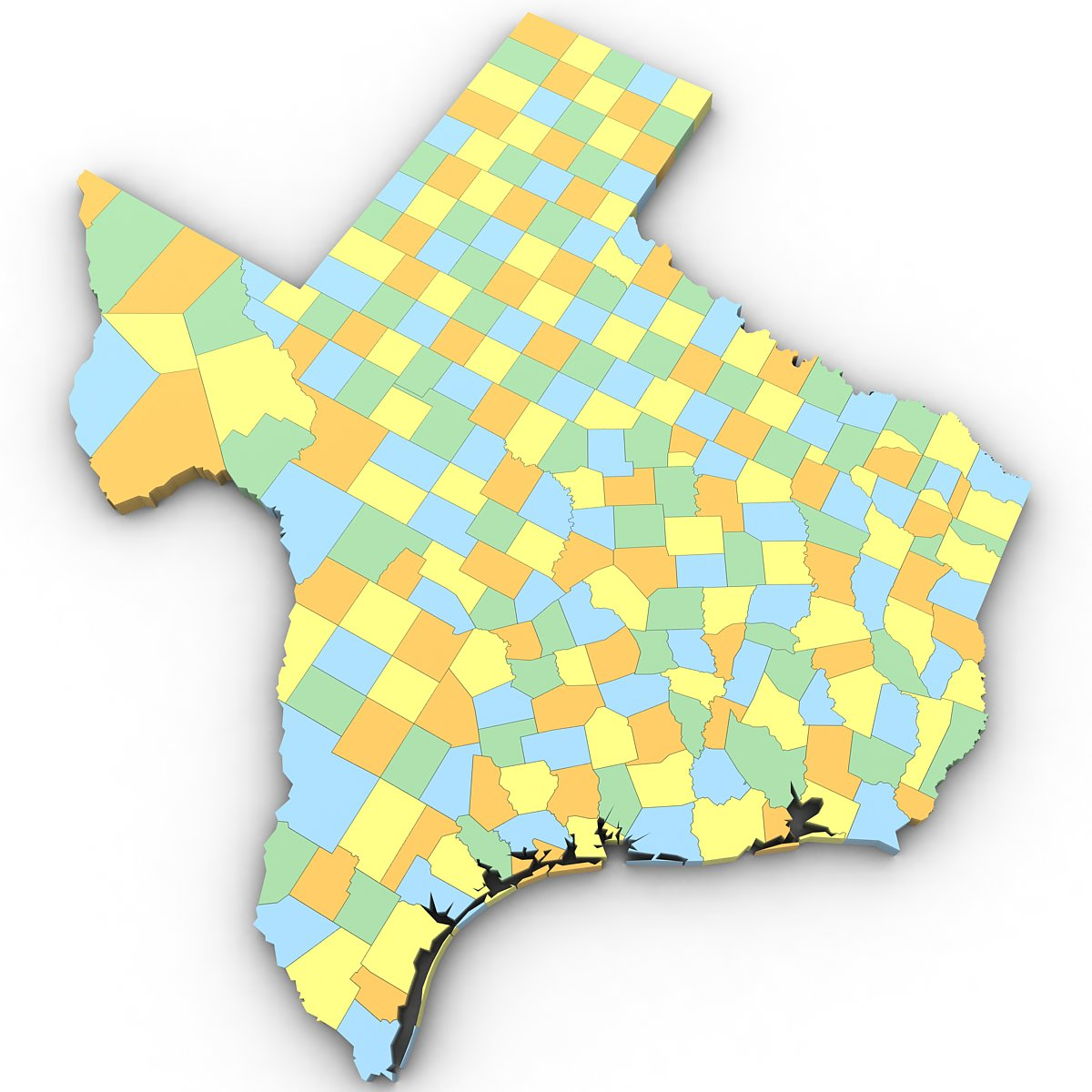 3d Map Of Texas.Texas Political Map 3d Model In Environment 3dexport