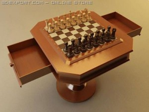 Chess Set with Table   Vray