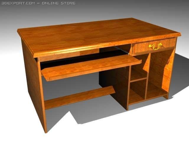 Computer Study Table 3D Model