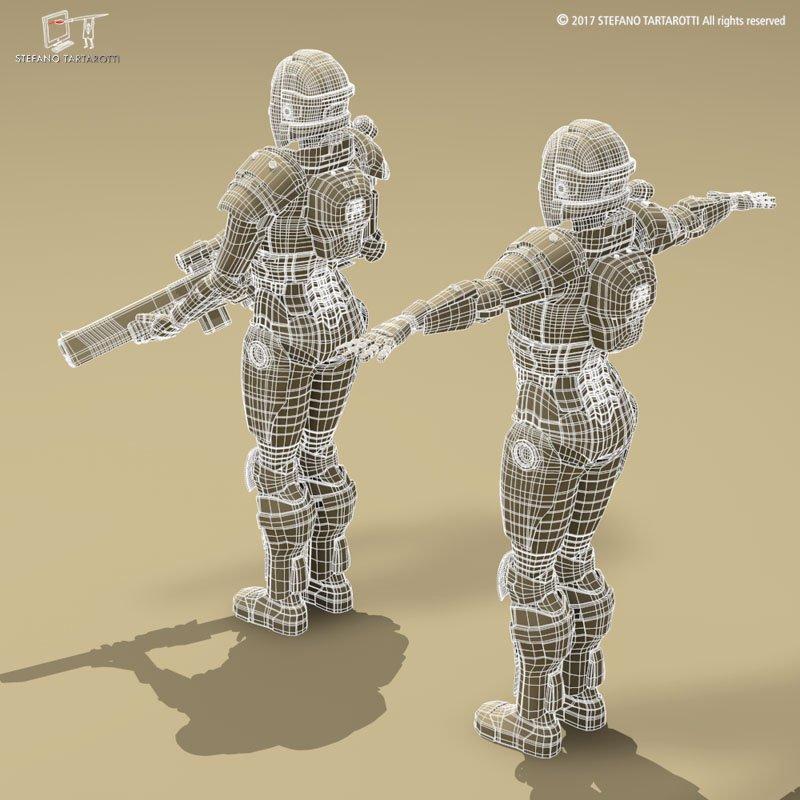 Sci-fi female armoured soldier 3D Model in Robot 3DExport