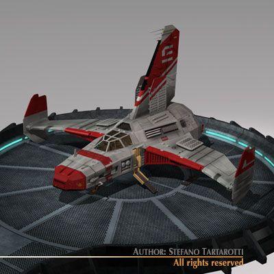 Spaceship with landing dock 3D Model