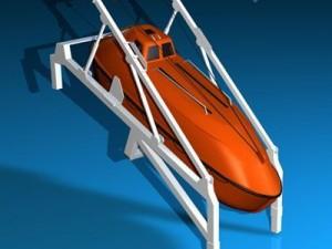 Life boat free fall ramp