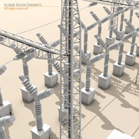 Electrical substation elements 3D Model