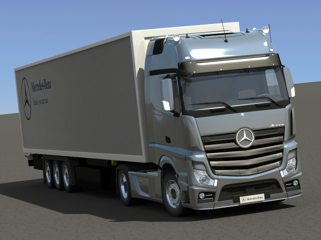 2012 Mercedes Benz Actros with Trailer 3D Model