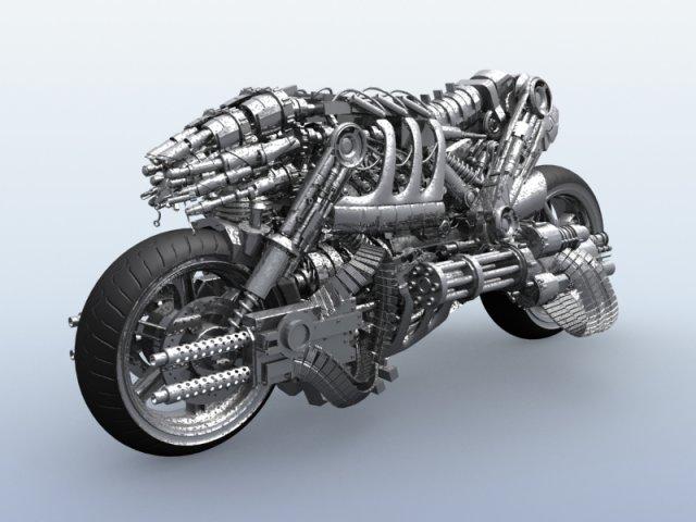 Terminator Robot Motorcycle 3D Model
