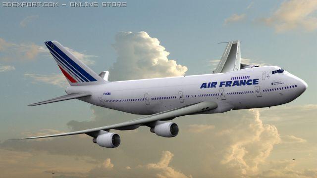B 747 Air France Livery 3D Model