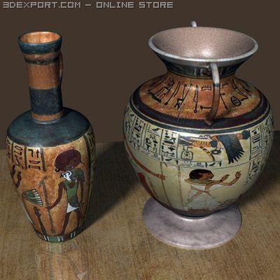 Egyptian Urns 3D Model