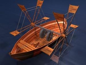 Leonardo's boat with shovel