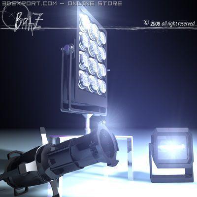 Stage light set 2 3D Model