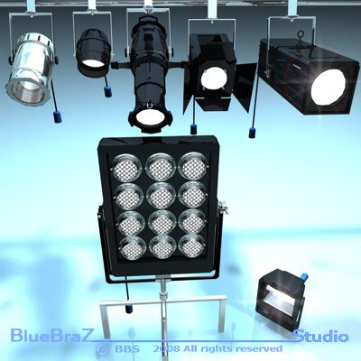 Stage lights Collection 3D Model