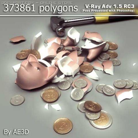 Piggy bank broken 3D Model