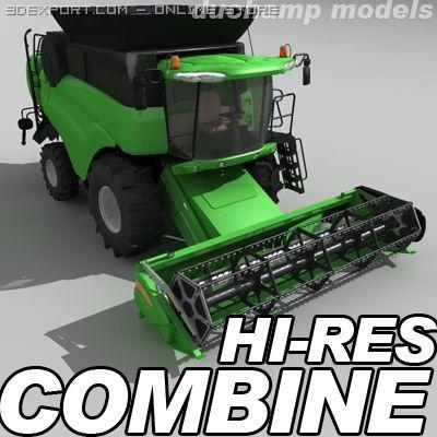 Hires combine harvester 3D Model