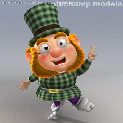 Cartoon Dwarf  Leprechaun rig 3D Model