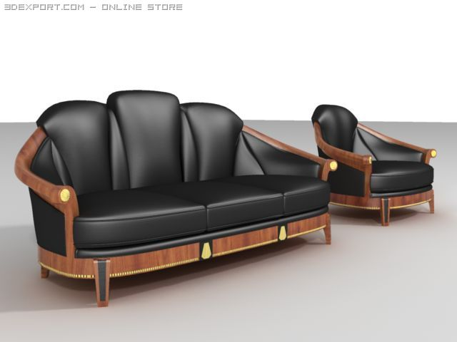 Empire Style Sofa And Armchair 3D Model