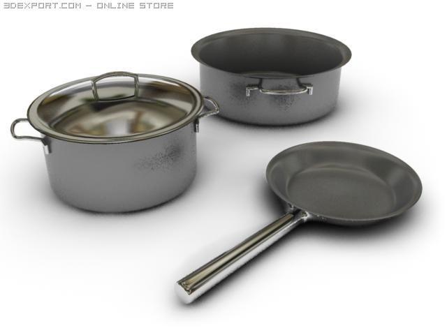 saucepans n fryingpan 3D Model