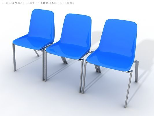Plastic Waiting Room Chair 3D Model