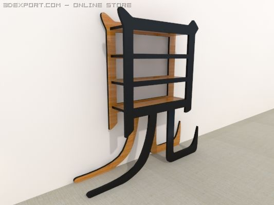 Japanese Shelf 3D Model in Shelving 3DExport
