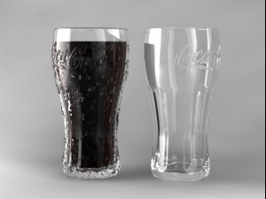 Coca Cola Glass with Water Droplets
