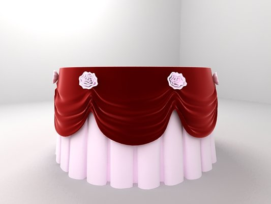 Round Table with Tablecloth and Flowers 3D Model