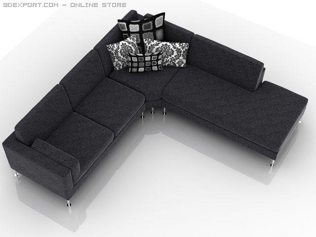 L shaped sofa 3D Model in Sofa 3DExport