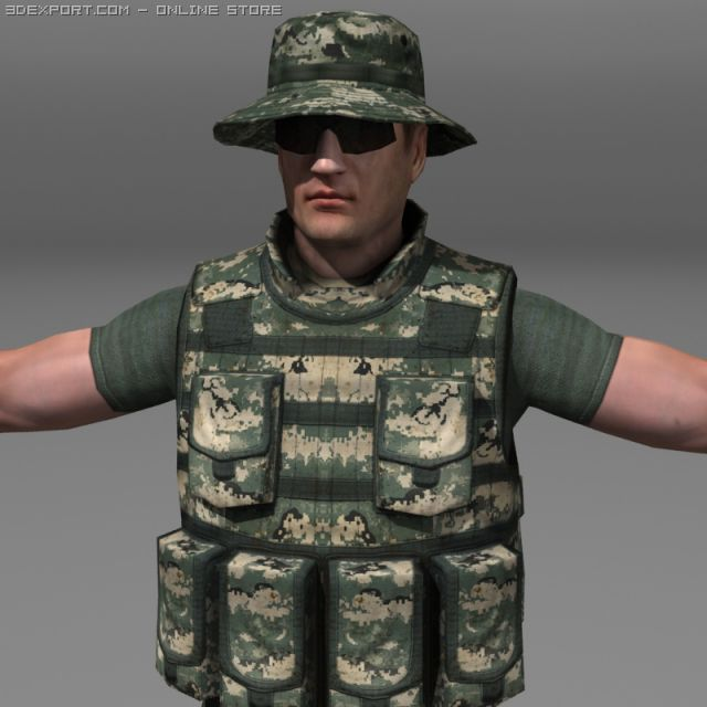 Modern Soldiers Us Soldier 2 and M4  beretta 3D Model