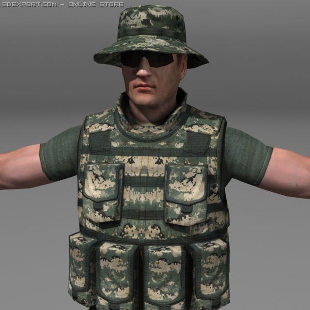 Modern Soldiers Us Soldier 2 and M4 beretta 3D Model in Man 3DExport