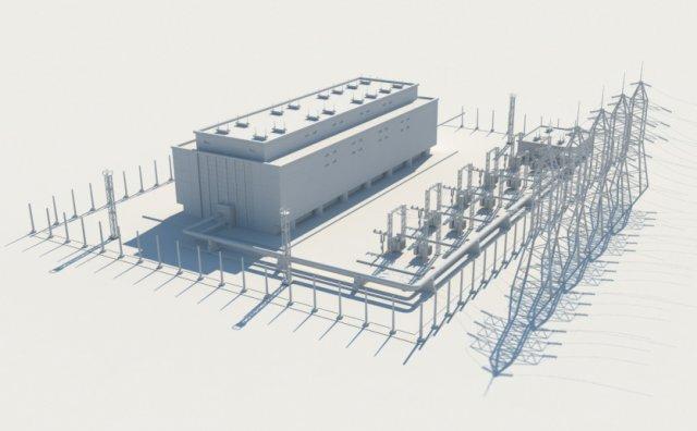 Substation 110 watts power 3D Model