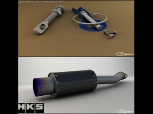 HKS Carbon Ti and Hood pins 3D Model in Parts of auto 3DExport