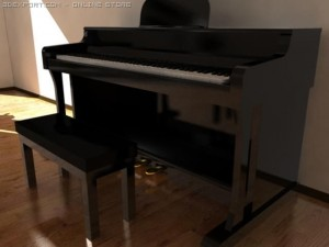 Black stand up piano