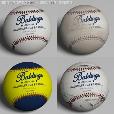 4 Low Polygon Baseballs 3D Model