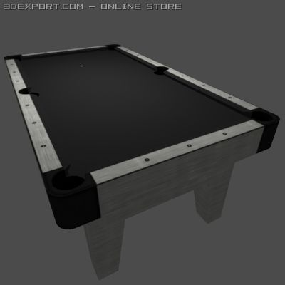Low Poly Billiards Table Black 3D Model
