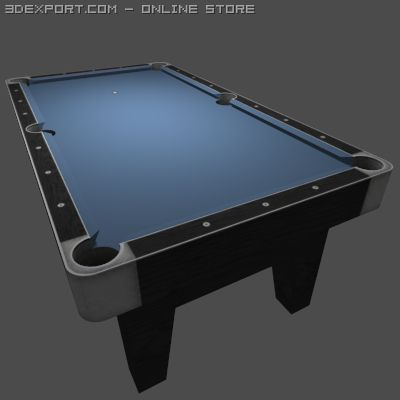 Low Poly Billiards Table Blue 3D Model