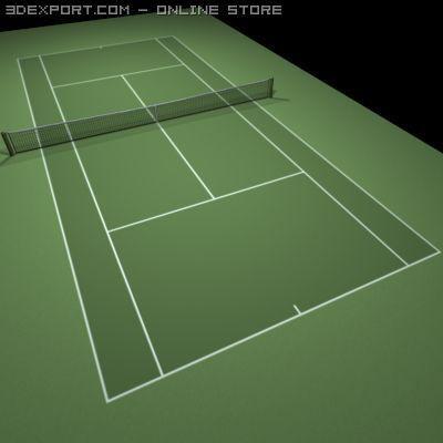 Tennis Hard Court Green 3D Model
