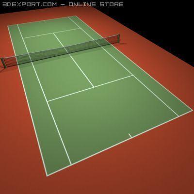 Tennis Hard Court Red 3D Model