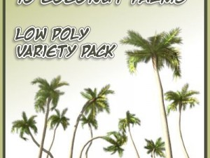 10 Low Poly Coconut Palm Trees Collection