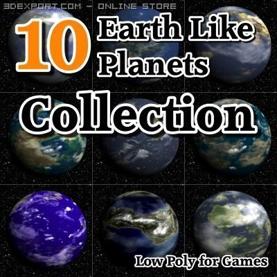 10 Earth Like Planets Collection 3D Model