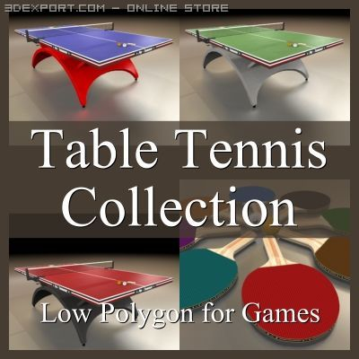 Low Polygon Table Tennis Collection 3D Model
