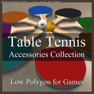 Low Polygon Table Tennis Accessories Collection 3D Model