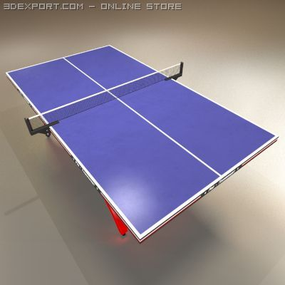 Low Polygon Ping Pong Table Blue 3D Model