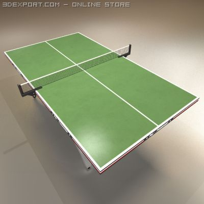 Low Polygon Ping Pong Table Green 3D Model
