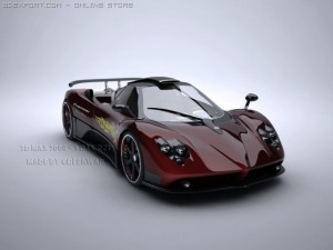 Pagani Zonda F With Matrial 3D Model. Greenwan. Sport Cars