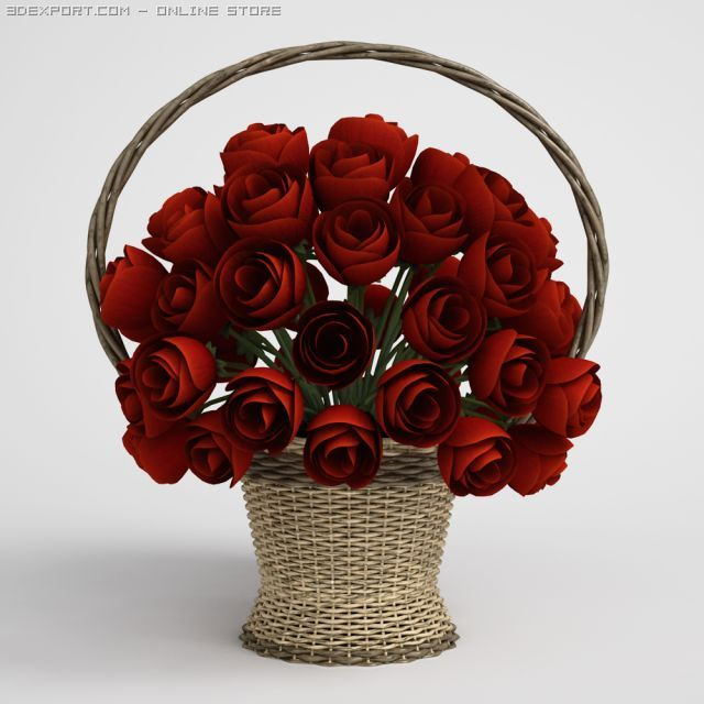 Floral Bouquet in Basket CGAxis models 006 17 3D Model