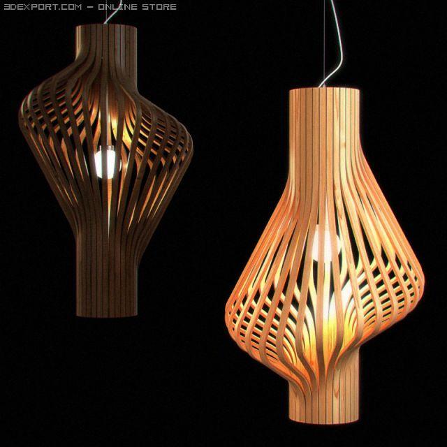 Wooden Hanging Light Fixture 06 3D Model in Miscellaneous 3DExport